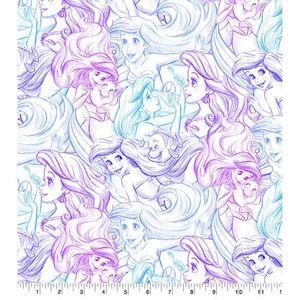 Ariel Watercolor Sketch Cotton Fabric